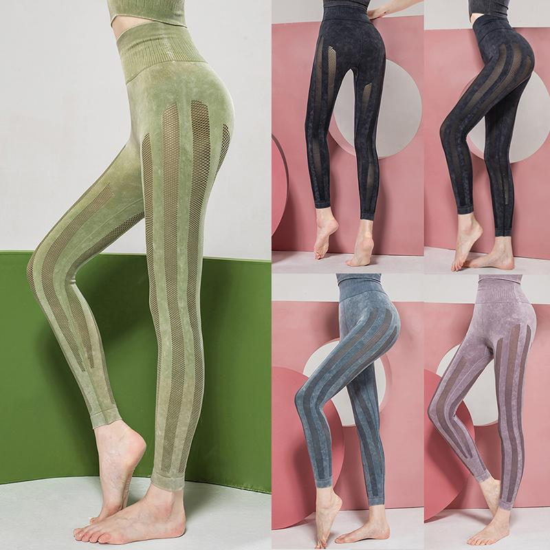 Kadın Casual Mesh Ekleme Yüksek Bel Kalça Kaldırma Pantolon 2020 Katı Renk Spor Spor Tozluklar Nefes Pantolon