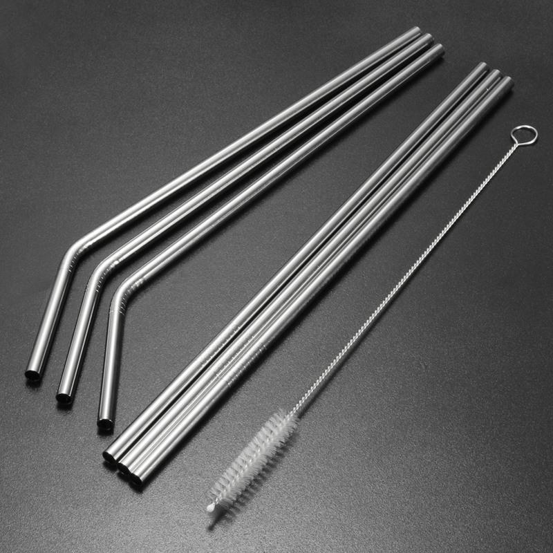 Reutilizable de acero inoxidable pajas recta y doblar herramienta Pincel bar bebiendo pajita reutilizable para la limpieza de 20 oz 30 oz