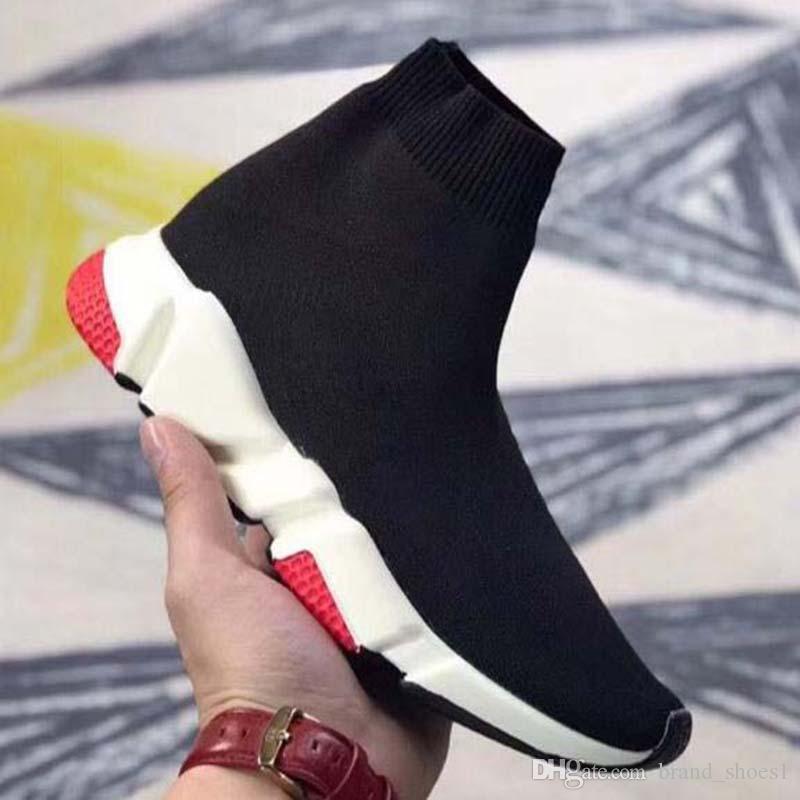 Повседневная обувь кроссовки Speed Trainer Черный Красный Гипсофила Тройной черный Мода плоский носок сапоги Повседневная обувь Speed Trainer Runner mn2