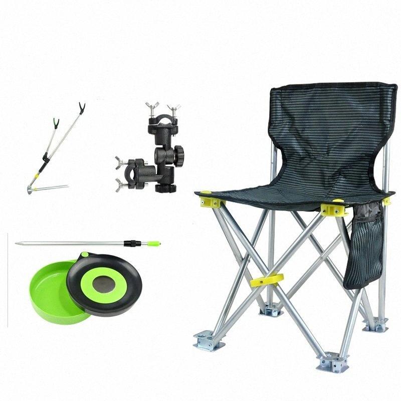Balıkçılık Sandalye Hafif Alüminyum Ayarlanabilir Katlama Camp Balıkçılık Sandalye ile Çubuk Tutucu rotu #