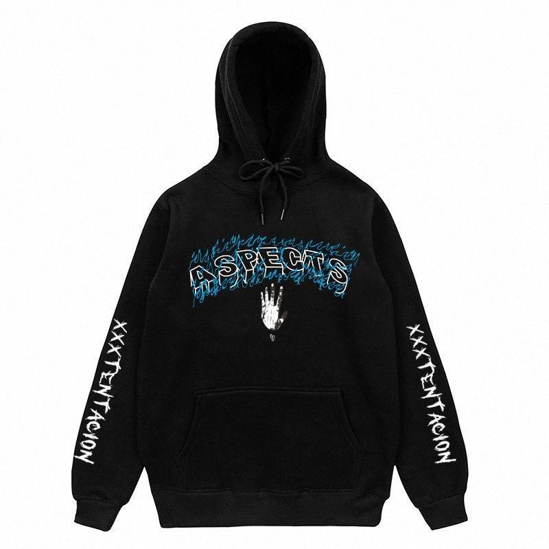 XXXTentacion ASPECTOS Hip-Hop Hoodies Hombres Mujeres Llama impresión de la letra Pullover Streetwear XXXTentacion venganza sudaderas con capucha FFEI #