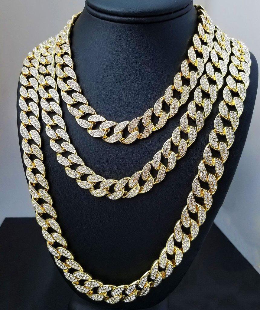 2020 Catene diamante di Bling ghiacciato fuori la collana Mens Cuban link collane Chain di Hip Hop di alta qualità personalizzato di gioielli per le donne gli uomini