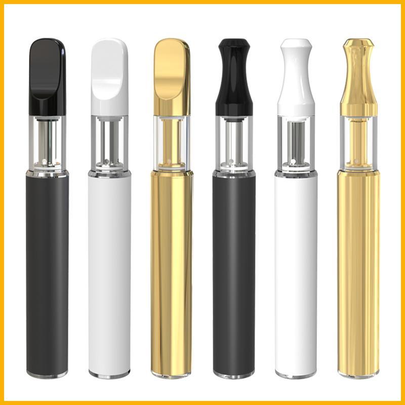 Carrinhos da bobina de cerâmica Vape caneta bateria de ouro Atomizador OEM Logotipo Custom Vape Vaporizador Vaporizador de Vape Grosso Vaporizador de óleo de CO2 com carga inferior
