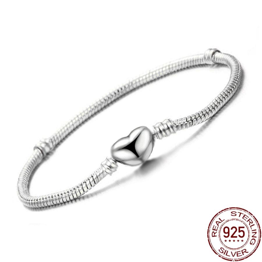 High Quality 16-23cm Original Solid S925 Silver Snake Chain Bangle Bracelet for Women DIY Jewelry Making