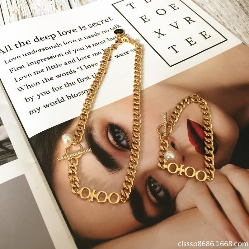 2021 Amily Letter Star Stest Metal Style Collana di moda Trend Fashion Trend All-match Bracciale in oro perla per le donne