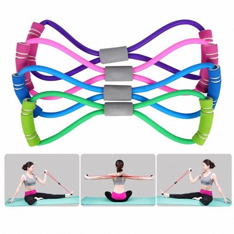 Ginásio 8 Palavra elástico Peito desenvolvedor Rubber Expander Corda Sports Workout faixas da resistência Fitness Equipment Yoga Training Q2Ht #