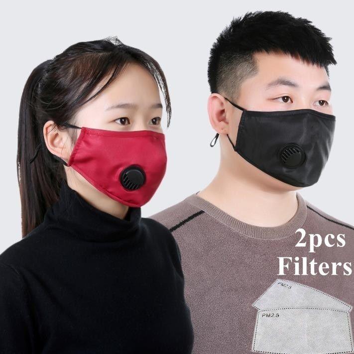 Tissu En stock Conception Masque poussière lavable Masques respirateurs réutilisables avec 2 pièces Coussin filtre de protection unisexe Masque bouche