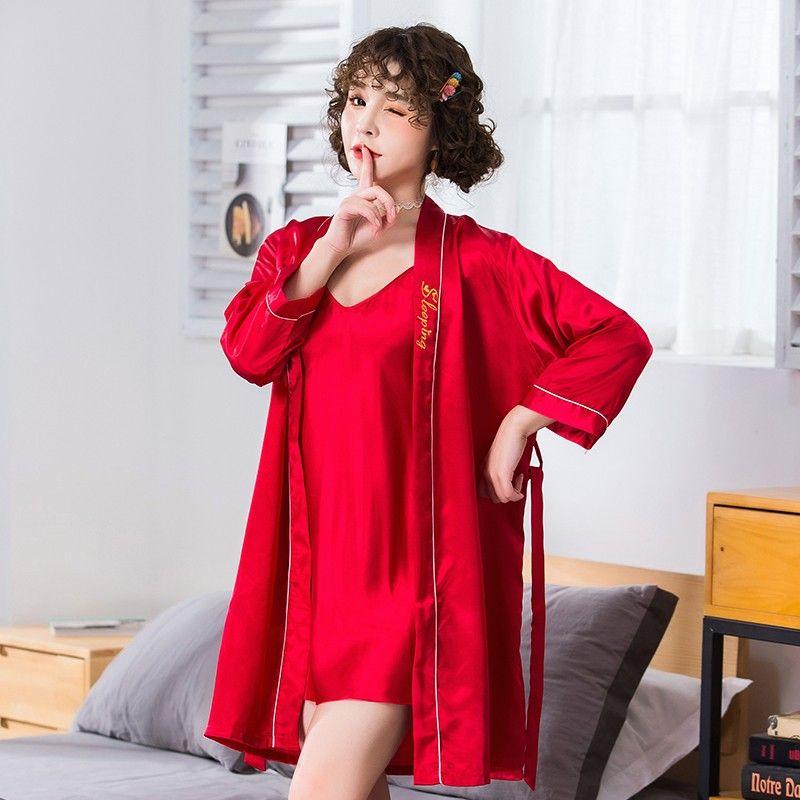 2PCS Mulheres Satin Robe Set RobeNightie Kimono Banho Vestido Sexy Pijamas Nightdress Oversize 3XL Lingerie Intimate