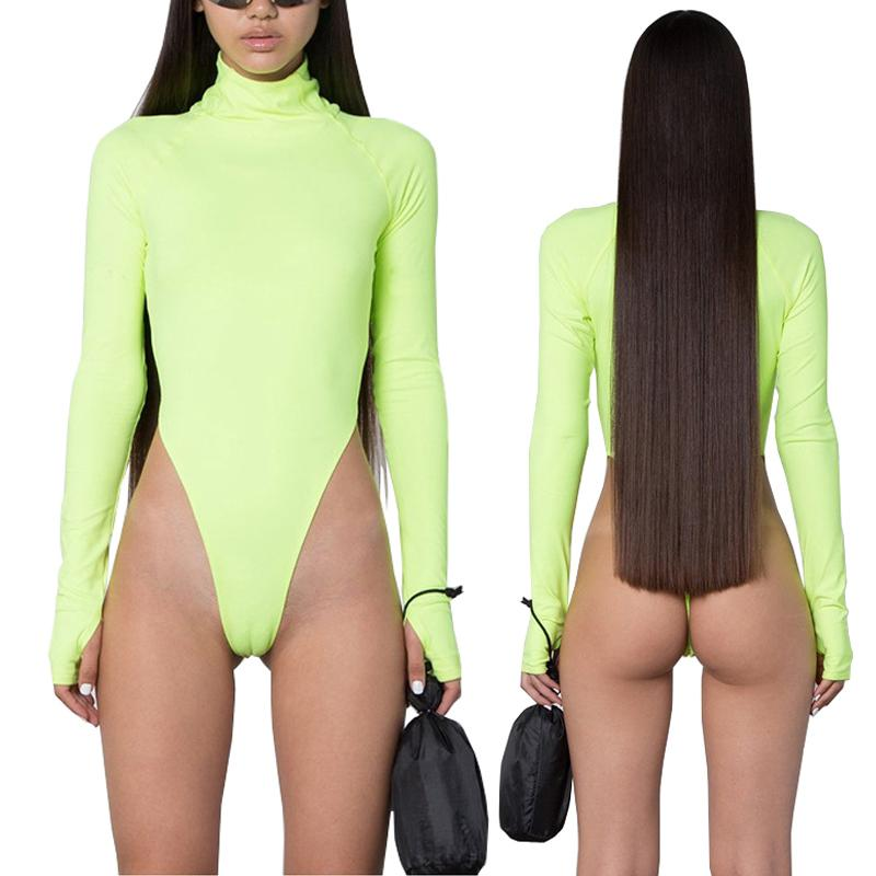 Spring Black Fluorescent Green Turtleneck Long Sleeve Bodysuit Women New Bodycon Rompers Skinny High Cut Out Thong Bodysuits 2XL CX200718