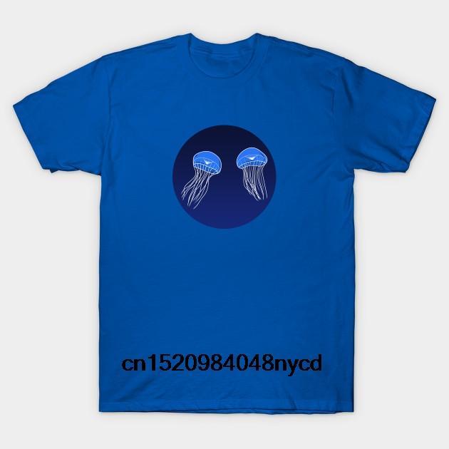 Baskılı Erkekler Tişörtlü Pamuk Tişört O-Boyun Kısa Kol Yeni Stil Jelly Denizanası Kadınlar Tişört