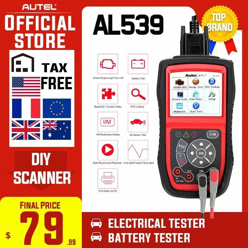 Autel AutoLink AL539 OBDII Электрический инструмент тестирования Auto AL 539 OBD2 Scanner Internet Update Voltage Circuit Start Tester PK AL539B R6Xr #
