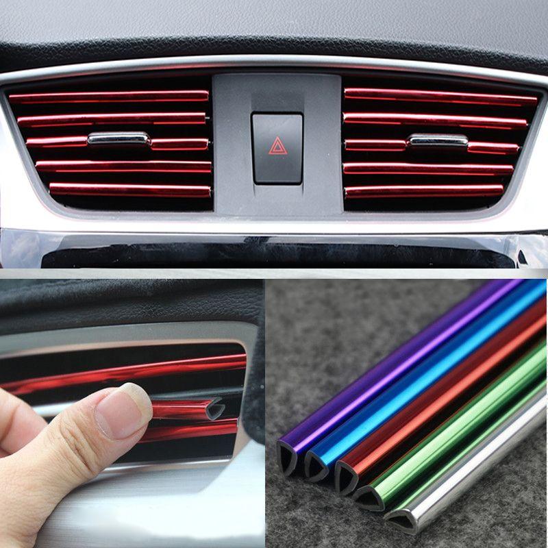 etiqueta Accesorios del interior del coche de 5 metros flexible Interiores Exterior Decoración Moldeo recorta las tiras de línea stickre etiquetas engomadas de la salida del aire