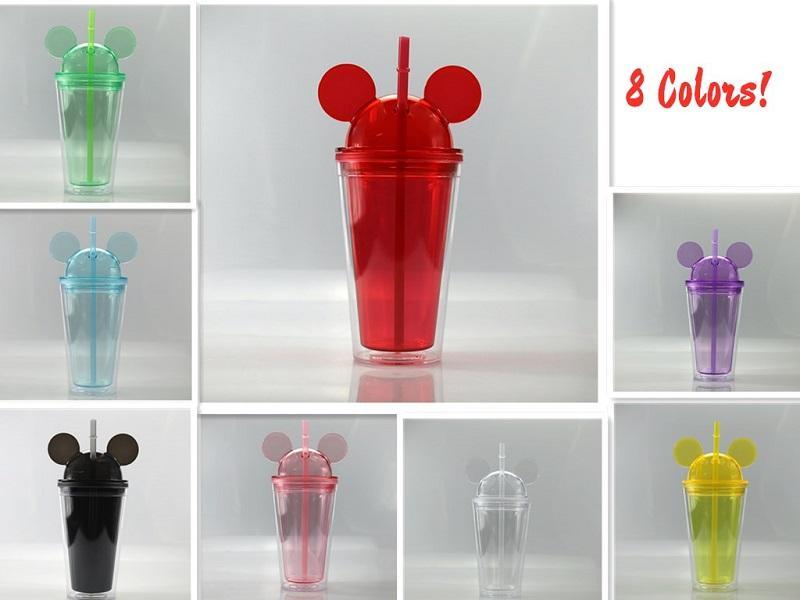 돔 뚜껑 450ml 아크릴 컵 빨대를 두 번 벽으로 둘러싸인 지우기 여행 머그컵 귀여운 아이 아이 물 병을 가진 마우스 귀 텀블러 15온스 8 색