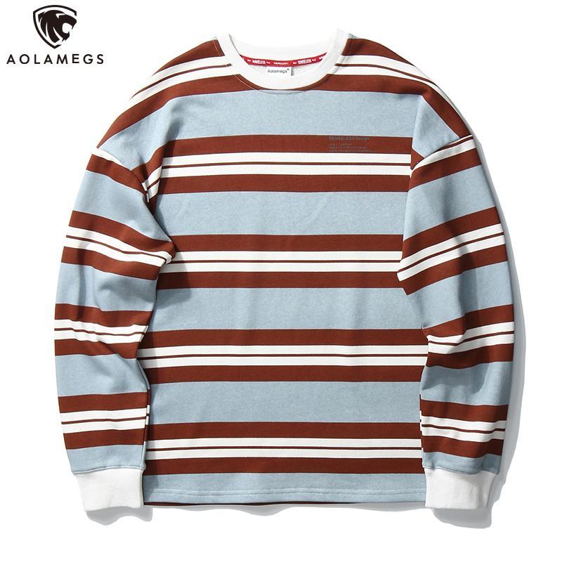Aolamegs Harajuku Pullover da uomo Vintage Hit colore a righe Stampa Pullover Uomini O-Collo casuale rigonfio di base con cappuccio Streetwear autunno
