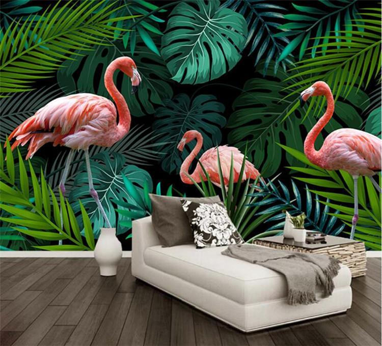 Forêt tropicale humide feuilles des plantes Flamingo Mural photo Papier peint Chambre Sofa Backdrop Papiers peints personnalisés papier peint peinture murale 3D