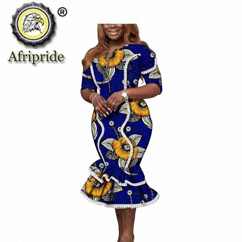 Африканские платья для женщин Печать костюмы с коротким рукавом O шеи Midi платье Dashiki Одежда Одежда Анкара Wear AFRIPRIDE S1925074 rqZJ #