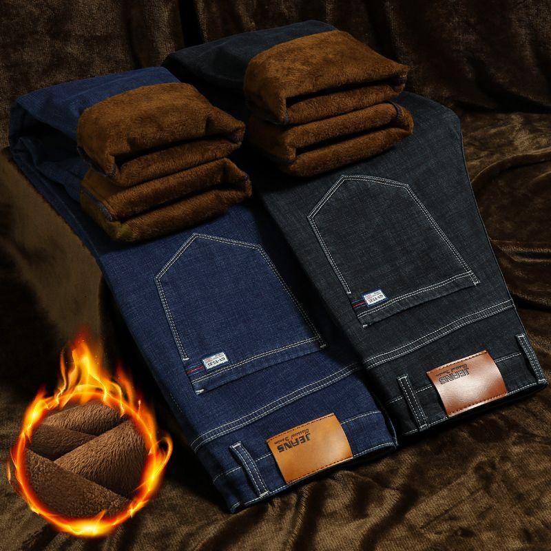 Erkek Kot 2021 Kolil Sıcak Polar Streç Rahat Düz Kalın Denim Flanel Yumuşak Pantolon Pantolon Mavi Siyah Boyutu 29-44