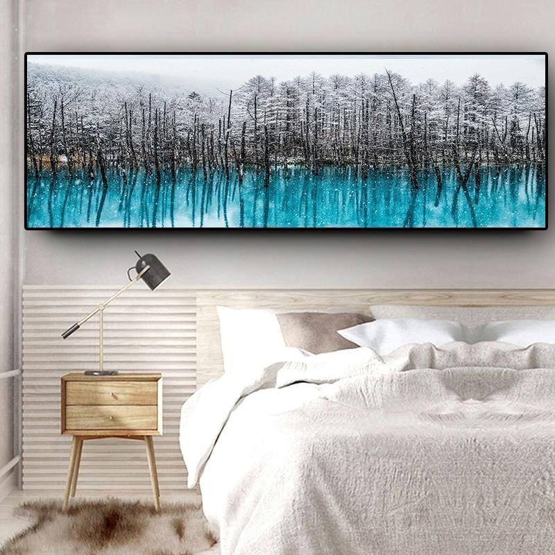 Moderne Nordic Schnee Wald Ölgemälde auf Leinwand Abstrakt Scandinavian Poster und Drucke Wall Art Bild für Wohnzimmer Wohnkultur