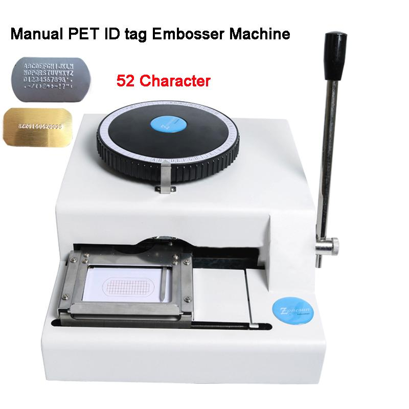 Kostenloser Versand! Garantie 100% neuer 52D PET-Tag Embosser, manuelle Hundemarke Embossermaschine, Stahl geprägte Maschine 52Characters