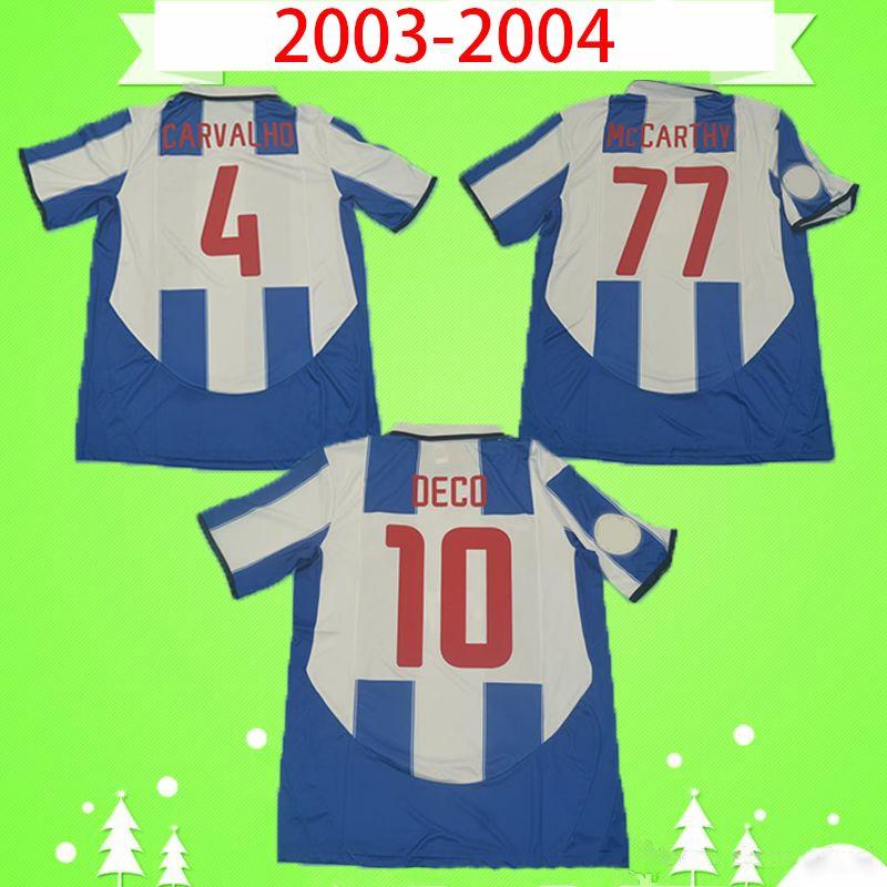 Porto fc Calcio Maglia Retro 2003 2004 Cup Final casa Men # 10 finali DECO Vintage Football Shirt Kit classica uniforme # 77 McCARTHY # 11 Derlei