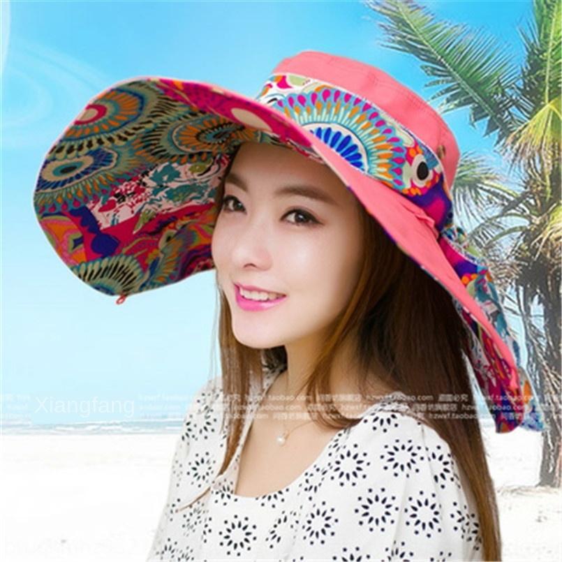 L'été plage pliable coréenne grandes d'été des femmes soleil U pliable coréenne femmes chapeau UV protection bord soleil extérieur protection UV chapeau
