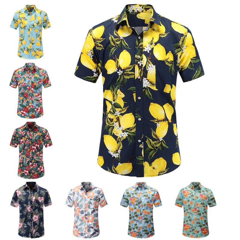Herren-Strand Shirt Männer Shirt Kurzarm Hawaiian Short Sleeve Lemon-Druck-Strand-Blumendruck Man