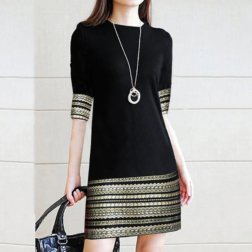 Fashion Women's Casual Vintage Elegant Splice Middle Sleeve Easy Mini Dress elegant robe femme robe longue femme robe vintage