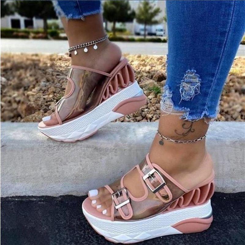 New Women Sandals PVC geléia de cristal do salto alto transparentes Salto Mulheres Sexy Limpar alto verão Sandálias Pumps Shoes Plus Size 35-43