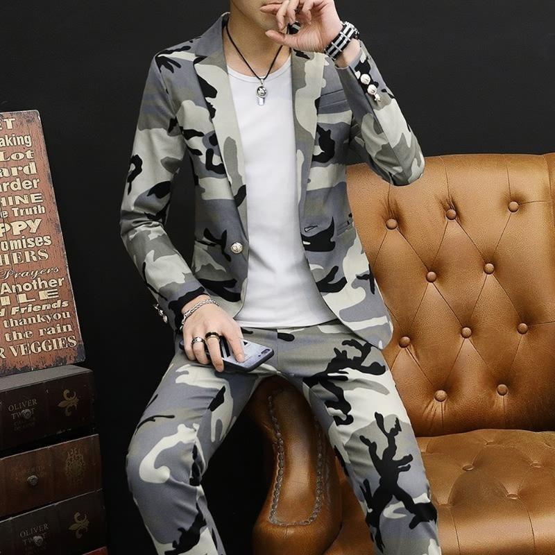 2ST Herren Camouflage Weiß Revers-Kragen One Button Mantel Klage-Blazer Hosen Lange Hose Slim Fit Cowboy 3Colors Jungen 2020