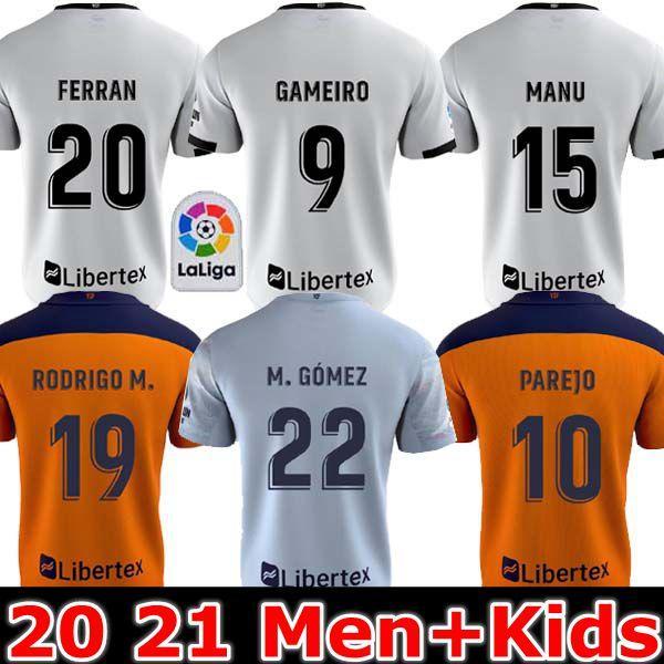 أعلى تايلند فالنسيا لكرة القدم جيرسي 2020 2021 جيديس غاميرو camisetas دي فوتبول رودريغو M. Florenzi M.Gómez عدة رجال الاطفال قمصان كرة القدم