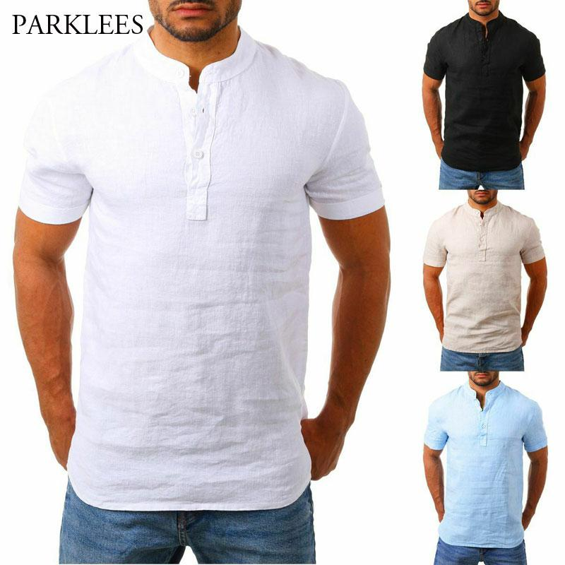Camicie allentato di tela degli uomini 2020 Mens di estate traspirante manica corta Henley camicia Chemise Homme camicia casuale camicetta di lino sottile Tops