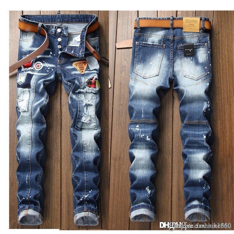 2020 neue Mens Jeans Distressed Ripped Biker Jeans Slim Fit Motorradfahrer Denim Jeans 2019 Fashion Pants