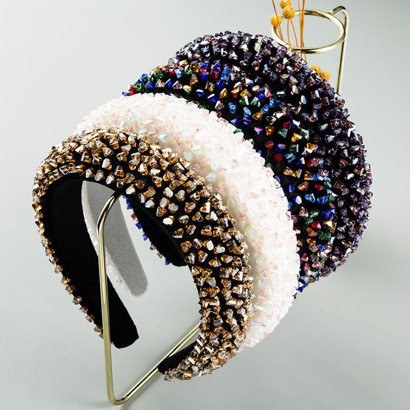 Kristallstirnband Flannelette Haar-Bänder Frauen Glas bohren Stirnband-Haar-Band-Mode-Haar-Zusätze J1508
