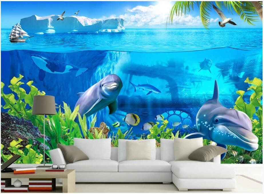Papel de parede feita sob encomenda papel de parede 3d papel de parede marinho iceberg animal marinho mundo estéreo 3d sofá fundo parede de fundo