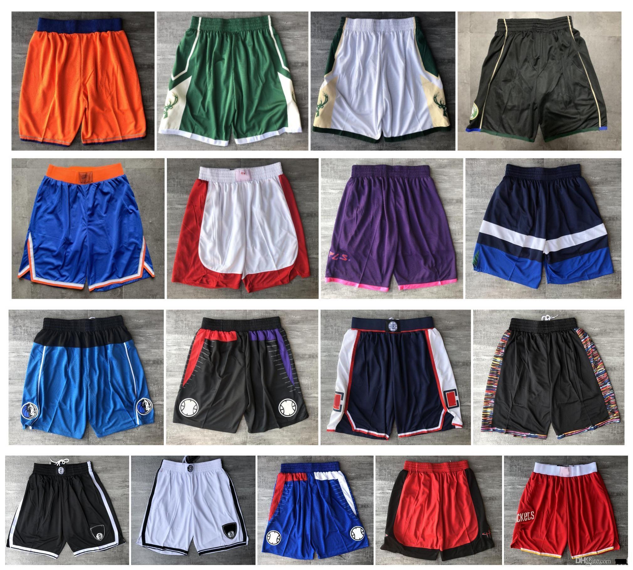 De calidad superior! 2020 Pantalones equipo de baloncesto de los hombres pone en cortocircuito cortocircuitos del deporte de los cortocircuitos de la universidad azul púrpura rojo blanco negro amarillo