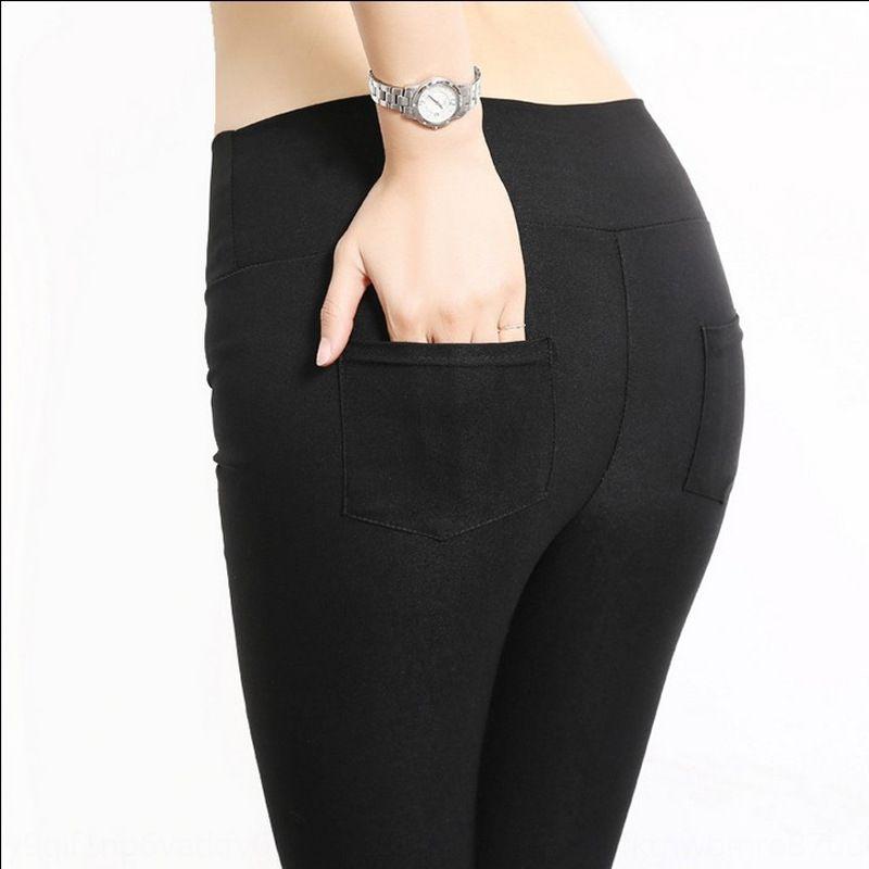 loCLA İlkbahar ve Sonbahar Yeni siyah dış giyim sıkı Kalem dar pantolon ince dokuz maddelik kalem pantolon Kore tarzı yüksek bel tozluk germek