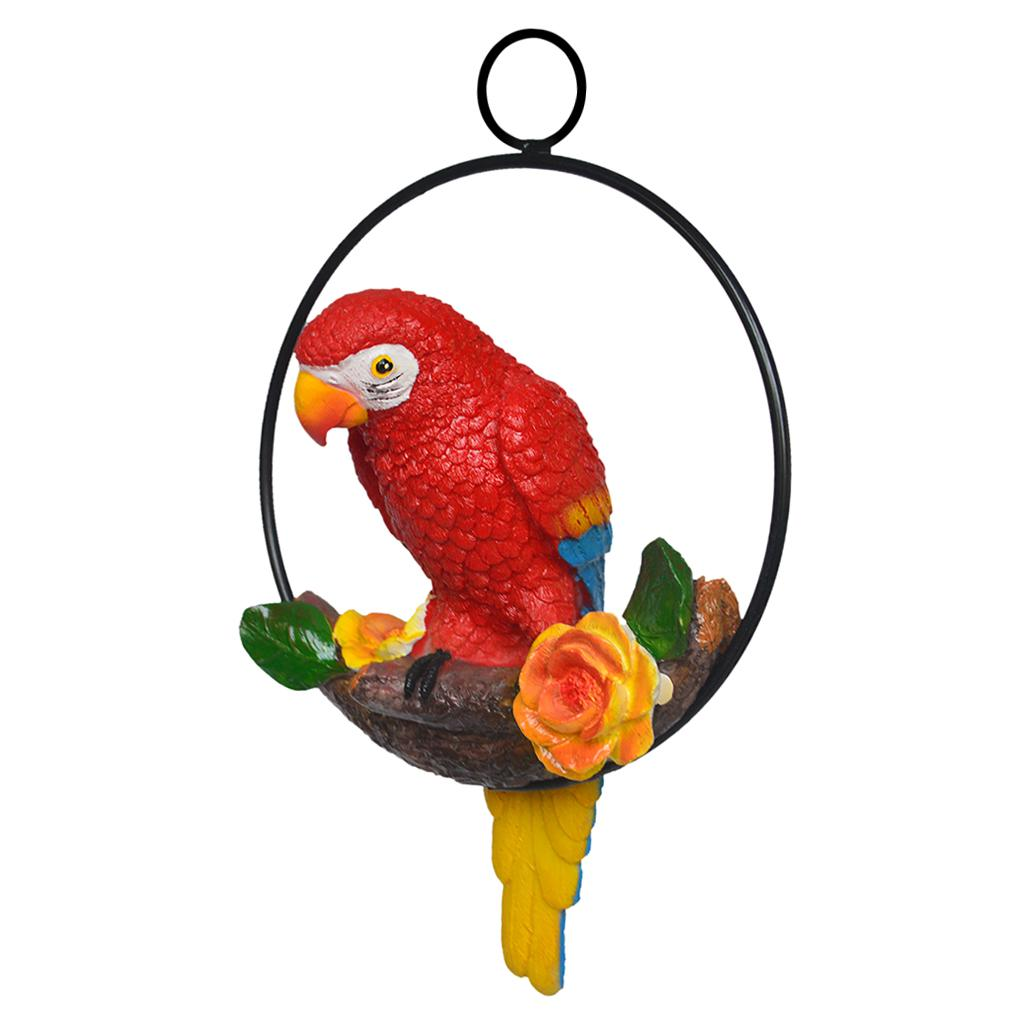 Hängende Harz Artificial Parrot Statue Perch auf Metallring Gartendeko