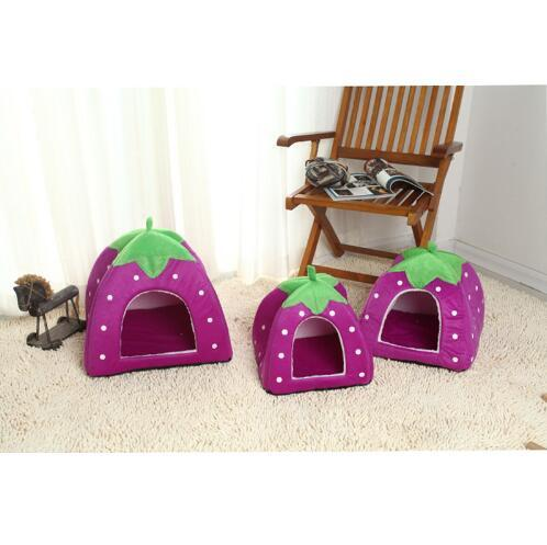 Five Sizes High Quality Soft Dog House Foldable Strawberry Shape Lovely Kennel Warm Portable Corduroy Cute Cat bed Nest For Small Medium