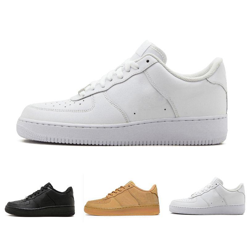 Nike Air Force One 1 Chaussures de course classiques tout blanc bas noir gris hommes coupés haute femmes baskets sport un patin US Chaussures de 5,5 à 12