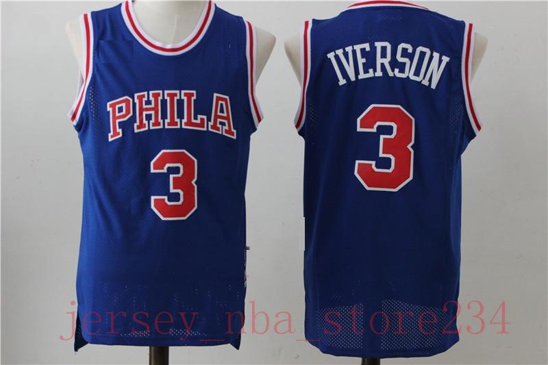 Basketball Jerseys Jahrgang Mens 6 Julius Erving NCAA Allen Iverson 3 Jersey Günstige Wilt Chamberlain 13 genähte Hemden