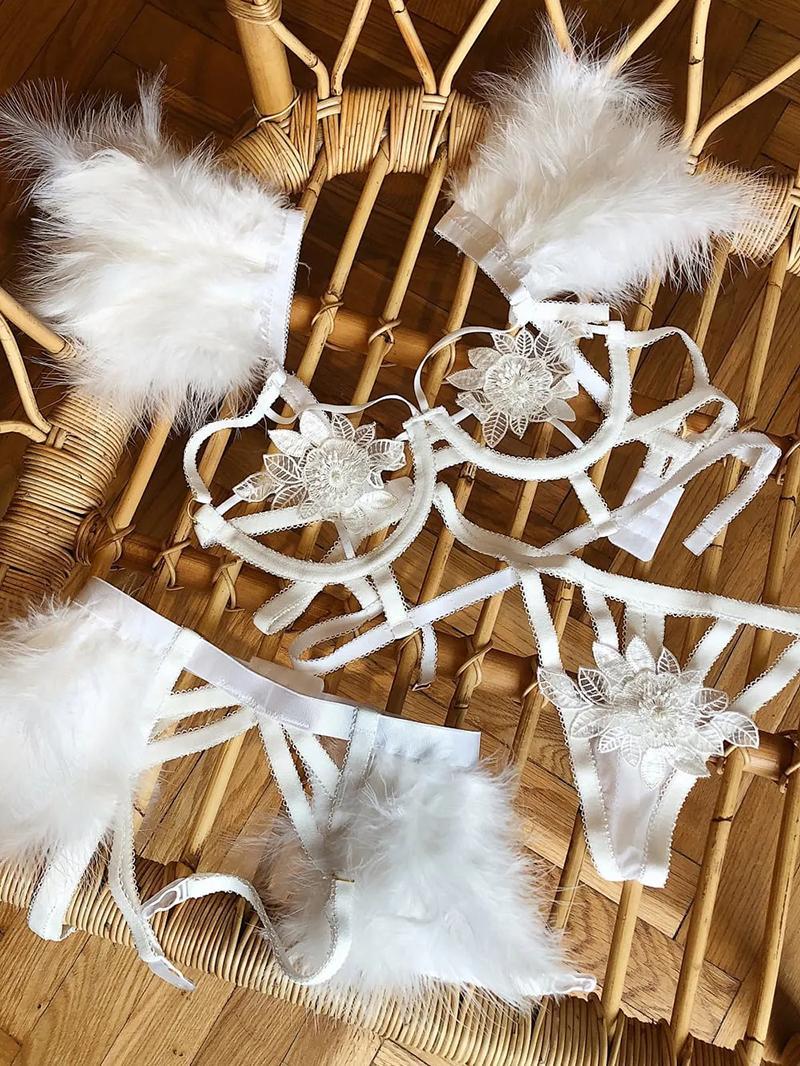 Blumenspitze Strumpf Dessous Set mit Federn Frauen Vertrauten sexy sujetador Transparent Mesh-BH und Tanga Damen Unterwäsche Set