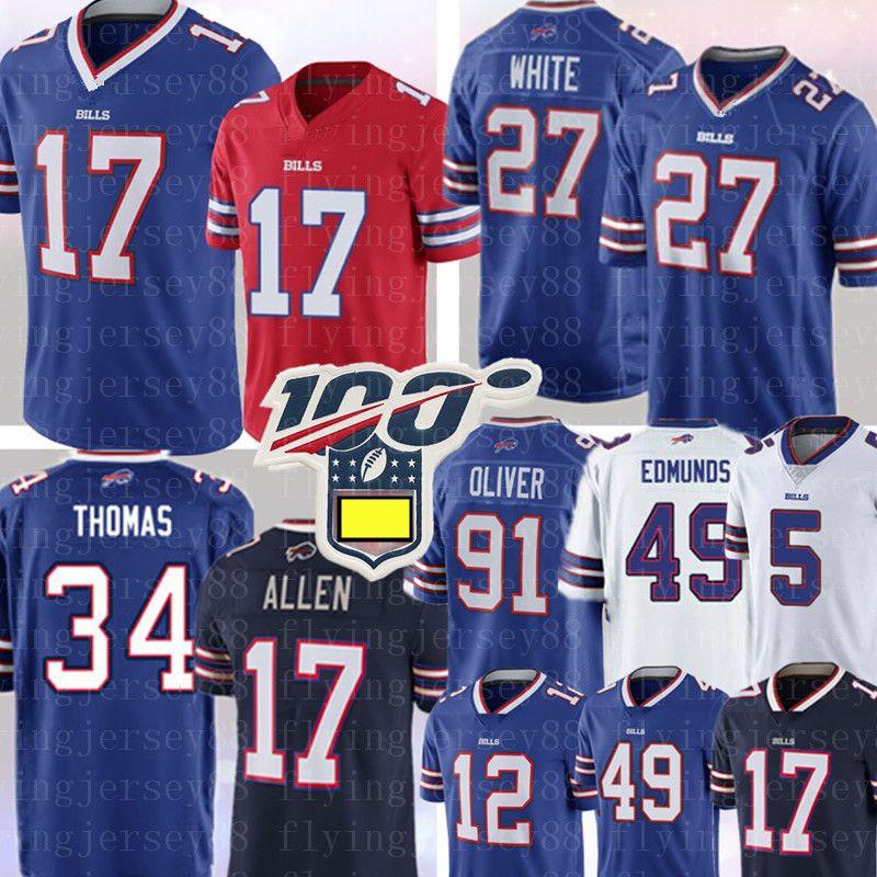 NCAA 17 جوش الن جيرسي 34 ثورمان توماس 14 ستيفون ديغس 49 تريمين ادموندز 91 أوليفر 27 Tre'Davious الأبيض جيم كيلي كرة القدم الفانيلة
