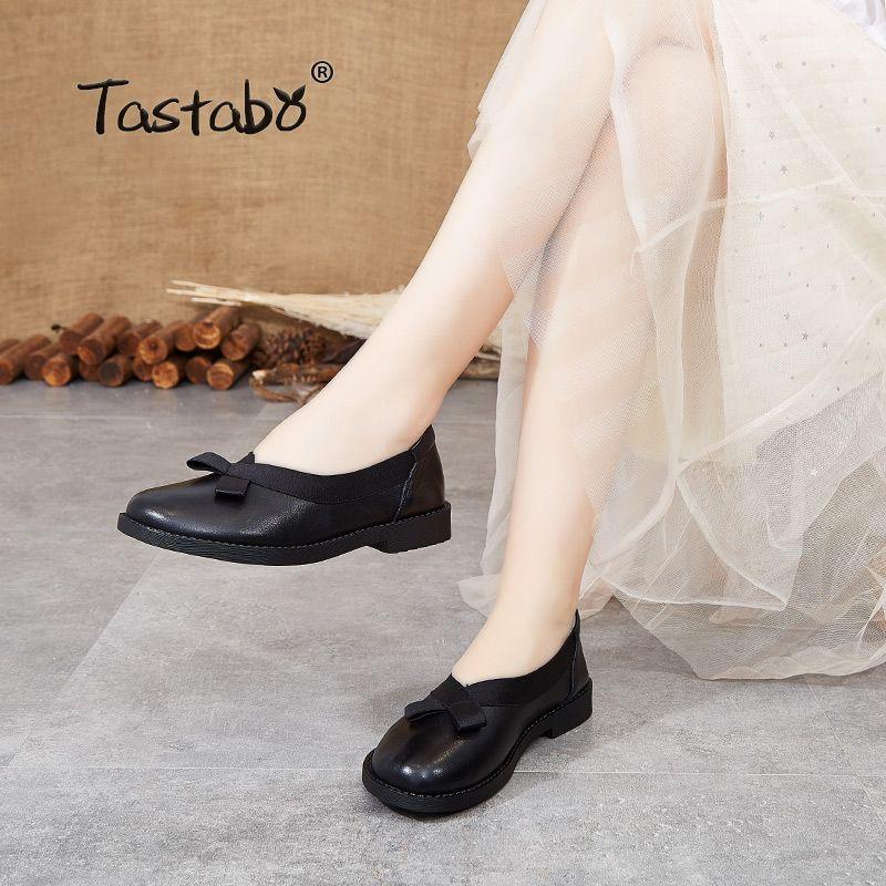 Handmade Tastabo Vera Pelle Donna Scarpe Nessun cinghia di design scarpe da lavoro di guida Nero Marrone S3709-1 comoda suola morbida