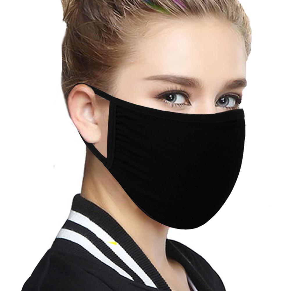 Bouche Visage Noir Couverture coton réutilisable respirateurs antipoussière bouche moufles PM2,5 Filtre