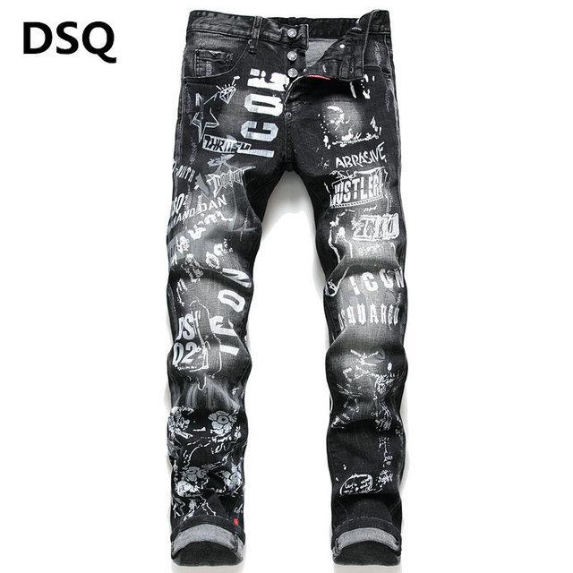 toptan 2020 Yeni Erkek Sıkıntılı Biker Jeans Slim Fit Biker Motosiklet Denim İçin Erkekler Moda Hip Hop Erkek Jeans ~~ F22 Ripped