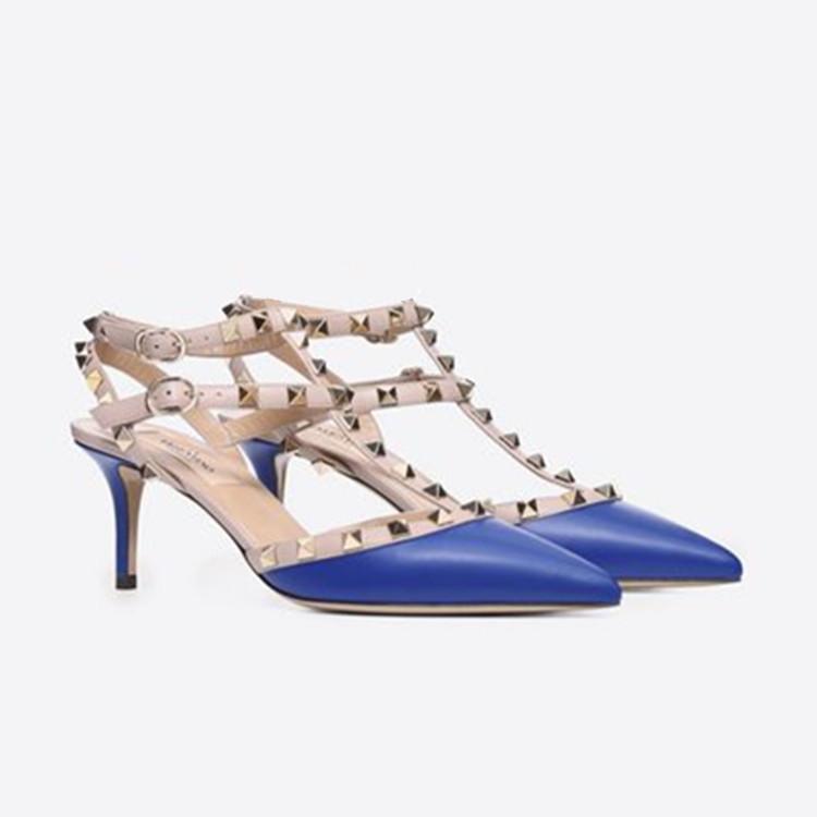 Yüksek topuk perçin bayan yazlık ayakkabı moda marka bayan 2 take seksi 8 ile 10 cm sandalet ofis çalışma elbise stiletto deri sandaletler