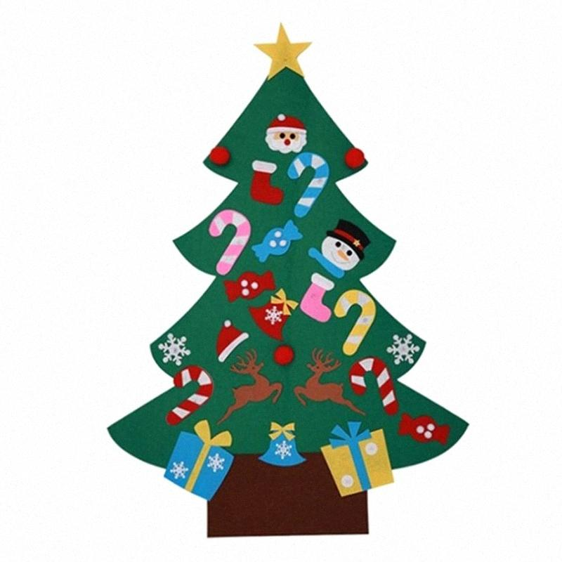 Merry Christmas Home Decorations DIY Christmas Tree Toy Colorful Windows Stickers Kids Non Woven Wall Hanging Ornaments rEvh#