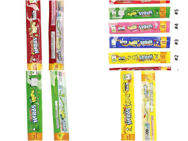 2016 2020 Vazio MEDICADO lerdos Corda sacos de embalagem 4 Estilos opção de pacote Nerdsrope Saco dos doces gomoso Folha de poliéster Alimentação Cheiro Prova De Enk
