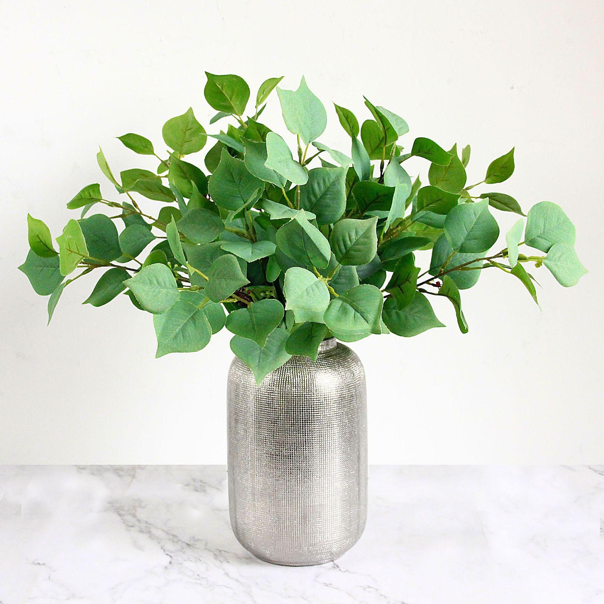 5Pcs simulazione di Apple Leaf 3 Forchette di seta verde foglie di falsi Impianti di decorazione giardino della casa della parete del fiore di nozze Sfondo Ramo Foglia