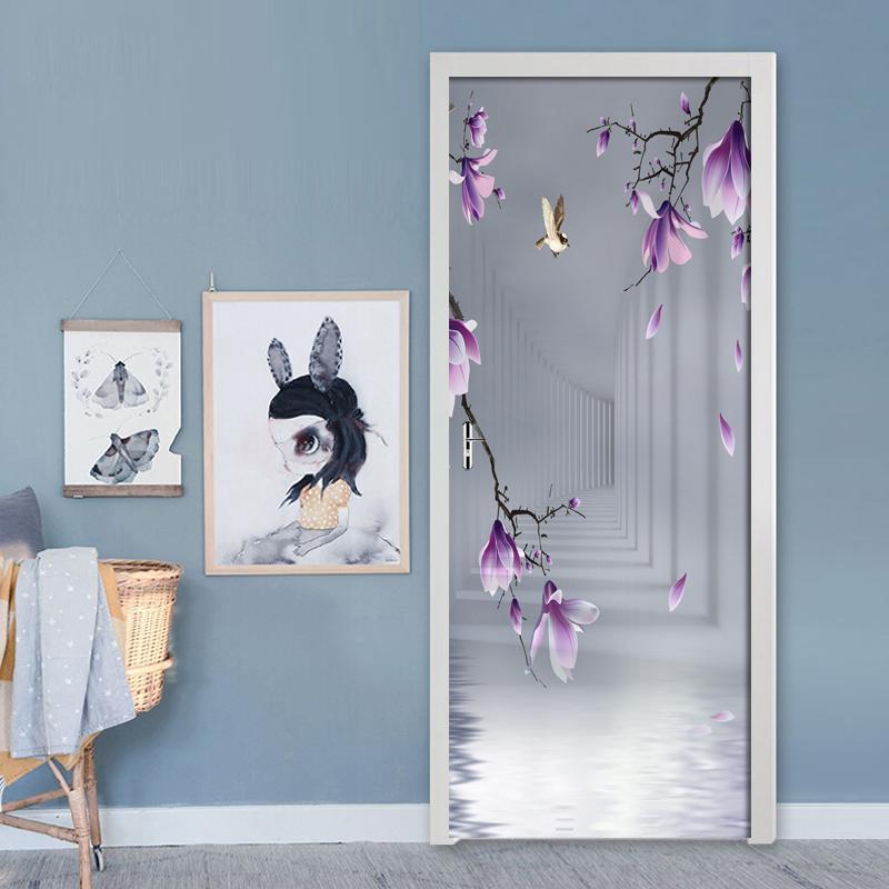 Kapı stickerDIY Kapı Sticker Mor Çiçekler Uzay Fotoğraf Duvar Kağıdı PVC Kendinden yapışkanlı Duvar Çıkartmaları Salon Yatak Odası Kapı Ev De
